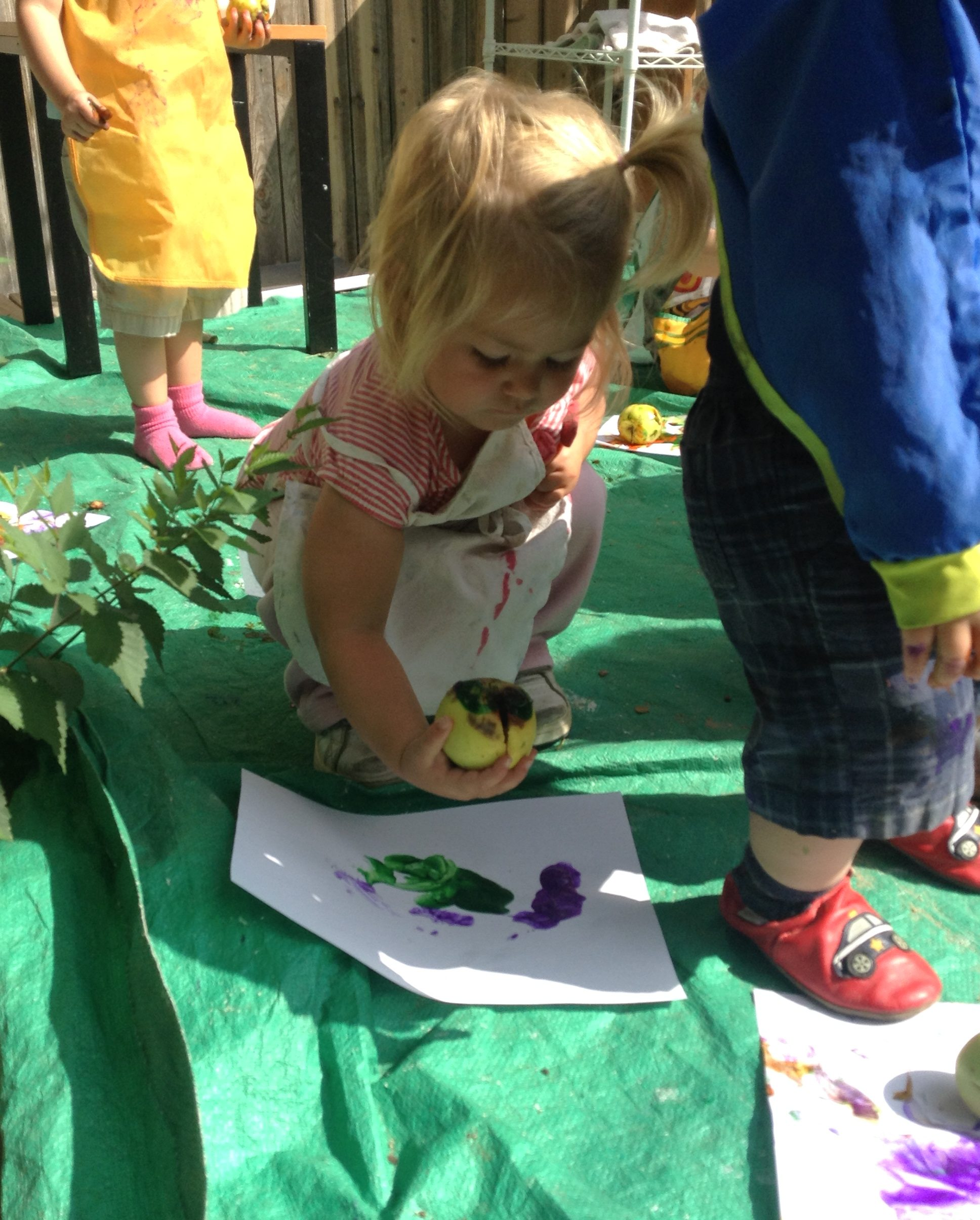 Painting with Apples Patchwork School Toddlers
